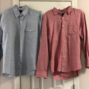 Two men's j. crew button up shirts red and blue